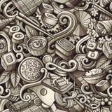 Κινούμενων σχεδίων χαριτωμένο άνευ ραφής σχέδιο τροφίμων της Ιαπωνίας doodles συρμένο χέρι Στοκ Εικόνες