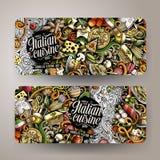 Κινούμενων σχεδίων hand-drawn εμβλήματα τροφίμων doodles ιταλικά Στοκ εικόνα με δικαίωμα ελεύθερης χρήσης