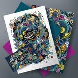 Κινούμενων σχεδίων χαριτωμένο διανυσματικό σύνολο ταυτότητας doodles διαστημικό εταιρικό διανυσματική απεικόνιση