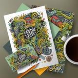 Κινούμενων σχεδίων χαριτωμένο διανυσματικό doodles Eco σύνολο ταυτότητας αυτοκινήτων εταιρικό Στοκ Εικόνα