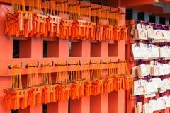 ΚΙΟΤΟ, ΙΑΠΩΝΙΑ - 11 Ιανουαρίου 2015: Ξύλινες ταμπλέτες προσευχής σε Fushimi Ina Στοκ Εικόνες