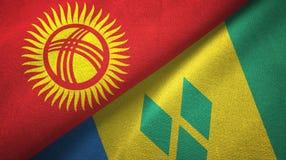Κιργιστάν και Άγιος Βικέντιος και Γρεναδίνες δύο υφαντικό ύφασμα σημαιών ελεύθερη απεικόνιση δικαιώματος