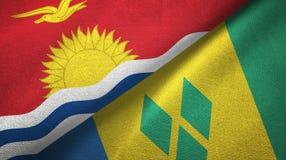 Κιριμπάτι και Άγιος Βικέντιος και Γρεναδίνες δύο υφαντικό ύφασμα σημαιών ελεύθερη απεικόνιση δικαιώματος