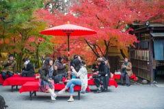 Κιότο, Ιαπωνία - 17 Νοεμβρίου 2017: Τουρίστες που κάθονται και που πίνουν Στοκ εικόνες με δικαίωμα ελεύθερης χρήσης