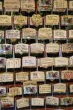 Κιότο, Ιαπωνία - Ema, μικρές ξύλινες πινακίδες με τις επιθυμίες ή τις προσευχές Στοκ εικόνα με δικαίωμα ελεύθερης χρήσης