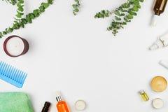 Κλάδοι ευκαλύπτων, κεριά, πετρέλαια, οροί και διάφορα προϊόντα ομορφιάς Στοκ Εικόνες