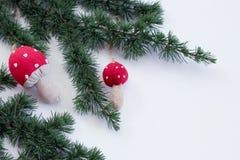 Κλάδοι κέδρων άποψης κινηματογραφήσεων σε πρώτο πλάνο και μανιτάρι διακοσμήσεων Χριστουγέννων σε ένα άσπρο υπόβαθρο αφηρημένο ανα Στοκ εικόνα με δικαίωμα ελεύθερης χρήσης