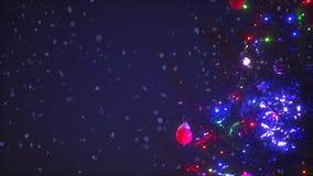 Κλάδοι κινηματογραφήσεων σε πρώτο πλάνο του χριστουγεννιάτικου δέντρου με τα ζωηρόχρωμα φω'τα γιρλαντών που περιβάλλεται από τη ζ απόθεμα βίντεο