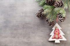 Κλάδοι Χριστουγέννων χαιρετισμός Χριστουγέννων καρτών Χριστούγεννα συμβόλων Στοκ Εικόνες