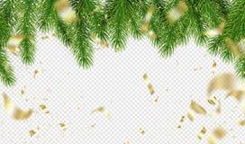 Κλάδοι χριστουγεννιάτικων δέντρων και χρυσό κομφετί σε ένα διαφανές υπόβαθρο Πρότυπο για το σχέδιο διακοπών επίσης corel σύρετε τ στοκ εικόνα με δικαίωμα ελεύθερης χρήσης