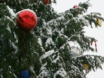 Κλάδος του FIR με τις διακοσμήσεις Χριστουγέννων στοκ εικόνες