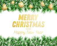 Κλάδος του FIR με τις χρυσές σφαίρες Χριστουγέννων και χιόνι που απομονώνεται στο μόριο απεικόνιση αποθεμάτων