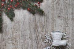 Κλάδος του FIR, snowflake, μπότα Στοκ Φωτογραφία