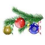 Κλάδος χριστουγεννιάτικων δέντρων με τις σφαίρες Χριστουγέννων Στοκ φωτογραφία με δικαίωμα ελεύθερης χρήσης