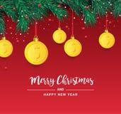 Κλάδος χριστουγεννιάτικων δέντρων με το διακοσμητικό χρυσό σύμβολο δολαρίων Σημάδι δολαρίων ως ένωση μπιχλιμπιδιών Χριστουγέννων  διανυσματική απεικόνιση