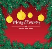 Κλάδος χριστουγεννιάτικων δέντρων με το διακοσμητικό χρυσό σύμβολο δολαρίων Σημάδι δολαρίων ως ένωση μπιχλιμπιδιών Χριστουγέννων  απεικόνιση αποθεμάτων