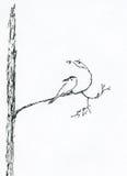 κλάδος 2 πουλιών διανυσματική απεικόνιση