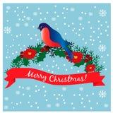 κλάδος bullfinch Ρωσία ουρανός santa του Klaus παγετού Χριστουγέννων καρτών τσαντών Στοκ Εικόνες