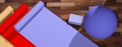 Κλάση Pilates Χαλιά και εξοπλισμός άσκησης στο ξύλινο πάτωμα, τοπ άποψη, διάστημα αντιγράφων τρισδιάστατη απεικόνιση απεικόνιση αποθεμάτων