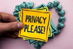 Κλήση ιδιωτικότητας κειμένων γραφής κινητήρια παρακαλώ Η έννοια έννοιας να είστε το ήρεμο υπόλοιπο που χαλαρώνουν δεν ενοχλεί γρα Στοκ εικόνες με δικαίωμα ελεύθερης χρήσης