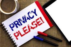 Κλήση ιδιωτικότητας κειμένων γραφής κινητήρια παρακαλώ Η έννοια έννοιας να είστε το ήρεμο υπόλοιπο που χαλαρώνουν δεν ενοχλεί γρα Στοκ Εικόνα