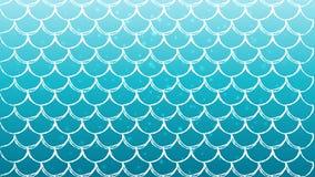 Κλίμακα ψαριών και υπόβαθρο γοργόνων διανυσματική απεικόνιση