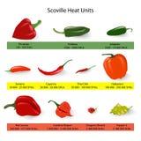 Κλίμακα Scoville του spiciness πιπεριών τσίλι, διάνυσμα απεικόνιση αποθεμάτων