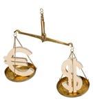Κλίμακες με τα σημάδια και το ευρώ δολαρίων Στοκ φωτογραφία με δικαίωμα ελεύθερης χρήσης
