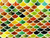 Κλίμακες ψαριών Watercolor Φωτεινό θερινό σχέδιο με τις κλίμακες ερπετοειδών διανυσματική απεικόνιση