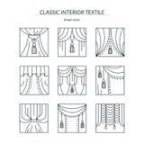 Κλασική εσωτερική υφαντικός-συλλογή των γραμμικών εικονιδίων με την κουρτίνα Στοκ Εικόνα