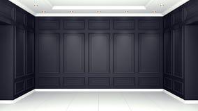 Κλασική μαύρη εσωτερική τρισδιάστατη απόδοση προτύπων στούντιο διαβίωσης Κενό δωμάτιο για το montage σας διανυσματική απεικόνιση