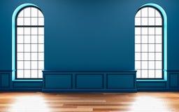 Κλασική μπλε κενή εσωτερική χλεύη επάνω με το παράθυρο η τρισδιάστατη απεικόνιση δίνει Στοκ εικόνα με δικαίωμα ελεύθερης χρήσης