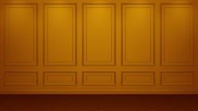Κλασική πορτοκαλιά εσωτερική τρισδιάστατη απόδοση προτύπων στούντιο διαβίωσης Κενό δωμάτιο για το montage σας Copyspace ελεύθερη απεικόνιση δικαιώματος