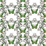 Κλασικό άνευ ραφής σχέδιο με τις πεταλούδες πράσινες και κίτρινες Στοκ εικόνες με δικαίωμα ελεύθερης χρήσης