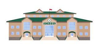 Κλασικό, αυστηρά συμμετρικό κτήριο απομονωμένης σχολείο εικόνας, ελεύθερη απεικόνιση δικαιώματος