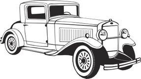 Κλασικό αυτοκίνητο coupe, διανυσματική τέχνη, μονόγραμμα, απομονωμένη, μαύρη, γραφική, διανυσματική απεικόνιση, λογότυπο, τέχνη σ απεικόνιση αποθεμάτων