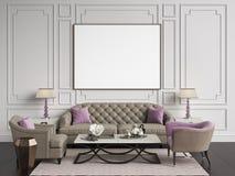 Κλασικό εσωτερικό στα μπεζ και ρόδινα χρώματα Καναπές, καρέκλες, sidetables απεικόνιση αποθεμάτων