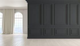 Κλασικό κενό εσωτερικό με το μαύρο τοίχο, το ξύλινο πάτωμα, το παράθυρο και την κουρτίνα η τρισδιάστατη απεικόνιση δίνει Στοκ Εικόνα
