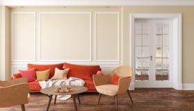 Κλασικό μπεζ εσωτερικό καθιστικό με τον κόκκινους καναπέ και τις πολυθρόνες Στοκ Εικόνες