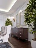 Κλασικό ξύλινο στήθος των συρταριών με τα γλιστρώντας γραφεία και τα κενά έργα ζωγραφικής και sconces στον τοίχο στη τραπεζαρία διανυσματική απεικόνιση
