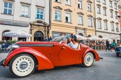 Κλασικό παλαιό Jawa στη συνάθροιση των εκλεκτής ποιότητας αυτοκινήτων στην Κρακοβία, Πολωνία στοκ εικόνα
