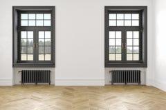 Κλασικό Σκανδιναβικό άσπρο κενό εσωτερικό με τα παράθυρα, τις μπαταρίες παρκέ και θέρμανσης Στοκ Εικόνες