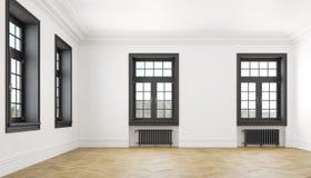 Κλασικό Σκανδιναβικό άσπρο κενό εσωτερικό με τα παράθυρα, τις μπαταρίες παρκέ και θέρμανσης Μεγάλο δωμάτιο Στοκ εικόνα με δικαίωμα ελεύθερης χρήσης