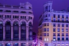 Κλασικό Arquitecture στη Μαδρίτη τή νύχτα Στοκ Εικόνες