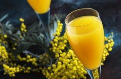 Κλασικό mimosa κοκτέιλ οινοπνεύματος με το χυμό από πορτοκάλι και την κρύα ξηρά σαμπάνια ή λαμπιρίζοντας κρασί στα γυαλιά, υπόβαθ στοκ εικόνες με δικαίωμα ελεύθερης χρήσης