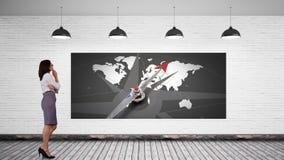 Κλείδωμα επιχειρηματιών σε μια οθόνη με έναν παγκόσμιο χάρτη απεικόνιση αποθεμάτων