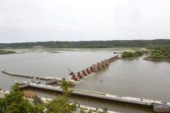 Κλείδωμα και φράγμα 11 ποταμιών Μισισιπή Dubuque, Iowa Στοκ Εικόνες