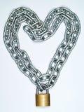 κλείδωμα καρδιών αλυσίδ&o Στοκ Φωτογραφία