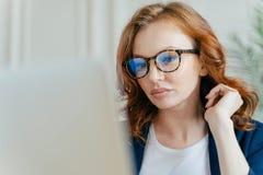 Κλείστε αυξημένος της γυναίκας εργαζόμενος συμπληρώνει το επιτυχές πρόγραμμα, κάνει τη μακρινή εργασία, που στρέφεται στο όργανο  στοκ εικόνα