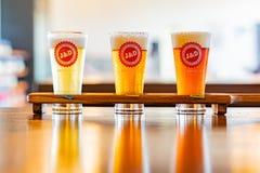 Κλείστε αυξημένος του ποτηριού τρία της κρύας φρέσκιας μπύρας στοκ φωτογραφία